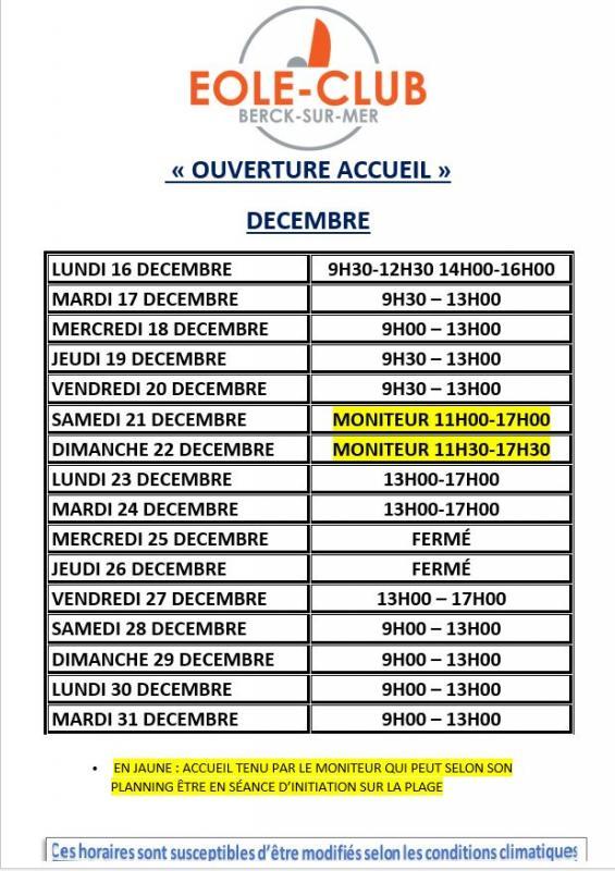 Horaire ouverture decembre 2019 word