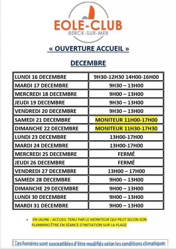 Horaires decembre 2019