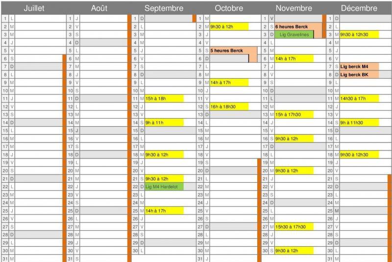 Planning ecole de sport